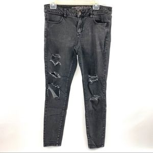 American Eagle Distressed Black Jeggings Size 10